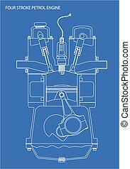 Engine Line Drawing Blueprint - A four stroke petrol engine...