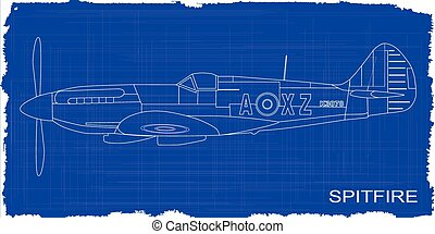 Fighter Plane Blueprint - A Supermarine World War II...