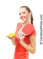 Happy woman ping-pong spot player