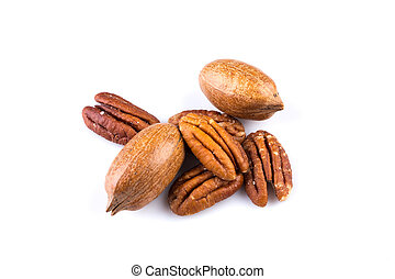 Few pecan nuts isolated on white background