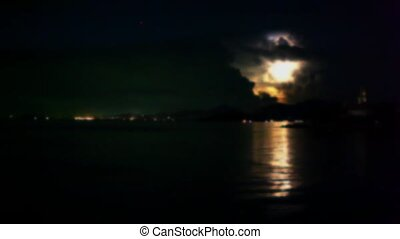 Lightning in the sea during night time. - Lightning in the...