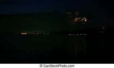 Lightning in the sea during the night time Time lapse video...
