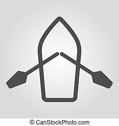The boat and oars icon. Skiff And Paddle symbol. Flat Vector...