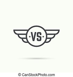 Versus sign. Badge with wings. Concept of opposition,...