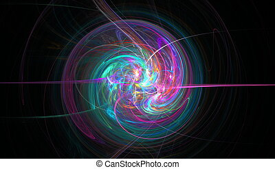 Fractal spiral woven from thin jets, stars and shine....