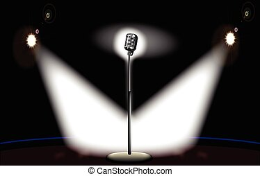 On Stage - A microphone spot lit by two spotlights on stage.