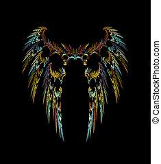 escuro, anjo, asas