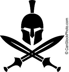 ancient hellenic helmet and swords. stencil. vector...