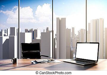 3D, escritório, local trabalho,
