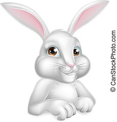White Easter Bunny Rabbit - A cute cartoon white Easter...