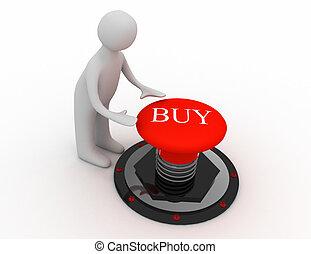 3d man pushing button buy