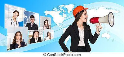 Agitation business woman - Beautiful business woman shouting...