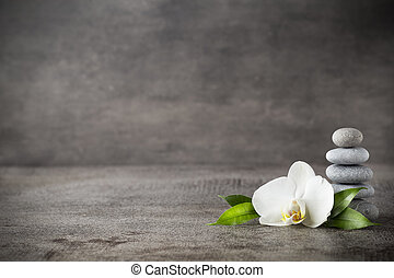 White orchid and spa stones on the grey background. - Spa...