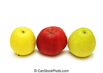 Three apples isolated on the white background