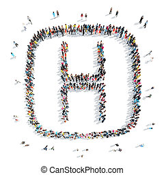 people in the shape of letters. - A group of people in the...
