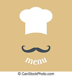 Big chef hat with mustache vector i