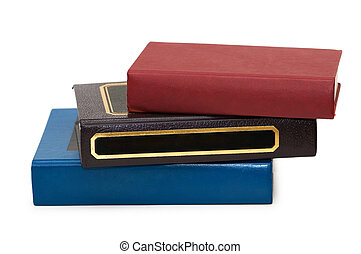 Three colourful books isolated on the white