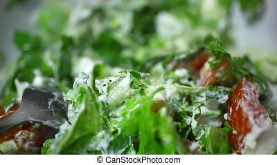 Spicy vegetable salad ready Macro video