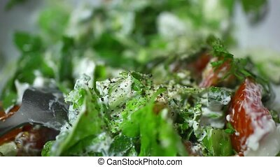 adding cherry tomato in vegetable salad as decoration Macro...
