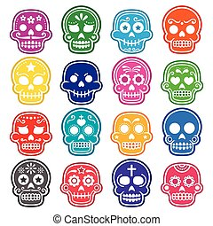Halloween, Mexican sugar skull icon - Vector icons set of...
