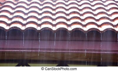 Rain runs off the roof. Video