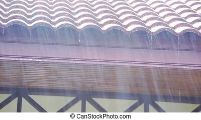 Rain runs off the roof.  shift motion