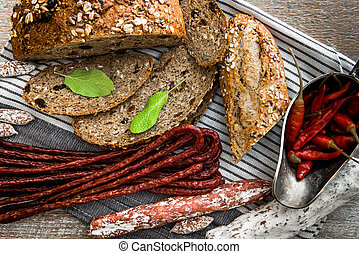 Wholemeal bread with dried sausages