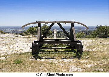 Catapult Medieval weapon - Old wooden medieval catapult at...