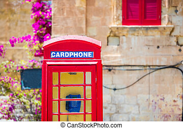 cardphone in a steet of Valletta - red cardphone in a steet...