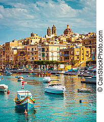 view on Birgu and the harbour with boats - beautiful view on...