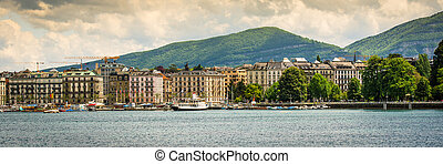 view of Geneva - panoramic view of the modern embankment and...