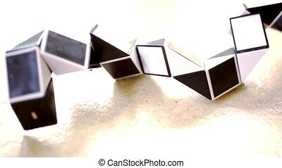 Close up of elements constructed on basis Of the triangle, black and white.