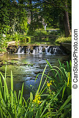 Small waterfall in the village of Glympton - The river Glyme...