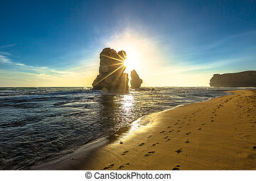 Port Campbell Victoria - Gibson Steps beach at sunset in...