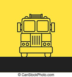 fire truck, silhouette - Fire Engine - background line...