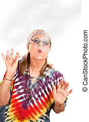 Senior hippie lady smoking - Senior hippie lady with...