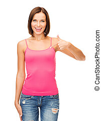 woman in blank pink shirt showing thumbs up - happy people...