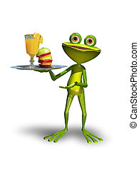 Frog with a tray with juice - Illustration green Frog with a...