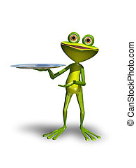 Frog with a tray - Illustration green Frog with a metal tray...
