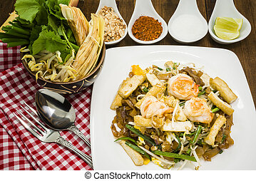 Delicious Thai stir-fried rice noodles, Pad-Thai is world...