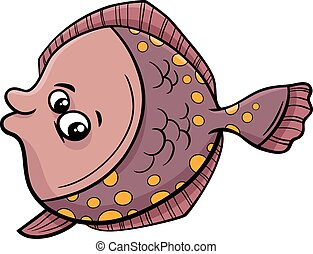flounder fish cartoon illustration - Cartoon Illustration of...