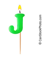 Letter J - Burning candles in the form of the letter J