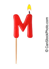 Letter M - Burning candles in the form of the letter M