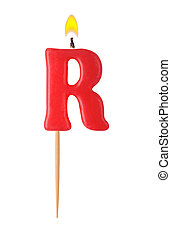 Letter R - Burning candles in the form of the letter R