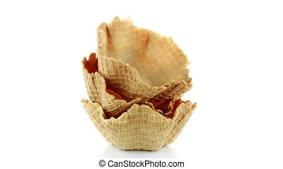 Wafer cups on white background.