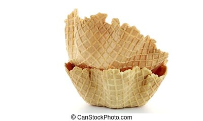 Wafer cups on white background