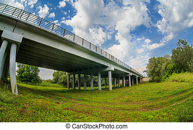 bridge concrete grass green landscape nature background -...
