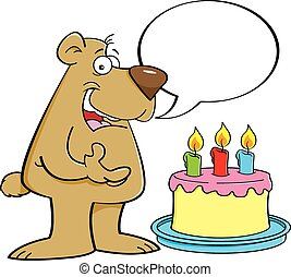 Cartoon bear with a speech balloon - Cartoon illustration of...