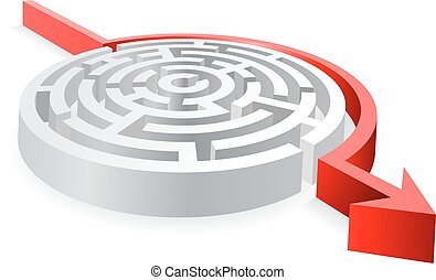 3D Round Red Maze Avoided