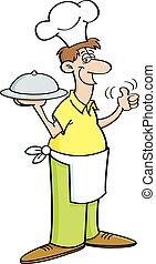 Cartoon man in a chef's hat holding - Cartoon illustration...